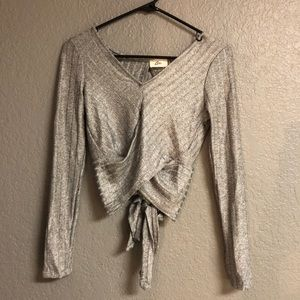 Silver shimmer top with cute open back and tie